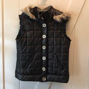 Justice Girls 16 Puffer Black Vest faux fur hood